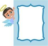 Bożenarodzeniowa anioł chłopiec rama ilustracja wektor