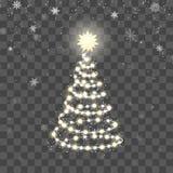 Bożenarodzeniowa błyszcząca drzewna sylwetka Nowego Roku drzewo robić bożonarodzeniowe światła na abstrakcjonistycznym tle równie ilustracji