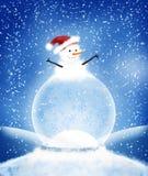 Bożenarodzeniowa bałwanu śniegu kula ziemska ilustracja wektor