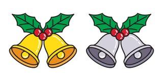 Bożenarodzeniowa Bell Święty Mikołaj ikony loga valentine nowego roku prezenta dzwonienia kreskówki wektorowa ilustracja ilustracji