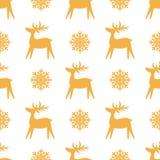 Bożenarodzeniowa bezszwowa tekstura z reniferem i płatkami śniegu royalty ilustracja