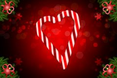 Bożenarodzeniowa bokeh ilustracja z cukierków barami kształtuje serca i kąta jodłę dekorującą ilustracji