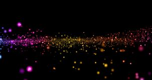 Bożenarodzeniowa cyfrowa błyskotliwość iskrzy wielo- kolor cząsteczek bokeh spływanie na czarnym tle, wakacyjny świąteczny szczęś zdjęcie wideo
