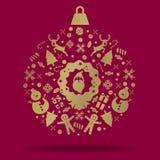 Bożenarodzeniowa dekoraci ikony piłka Fotografia Royalty Free