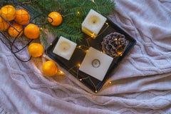Bożenarodzeniowa dekoraci inspiraci wciąż życia wystroju pomarańcze Tanger fotografia stock