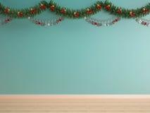 Bożenarodzeniowa dekoracja na zieleni mennicy ściany tle Obrazy Stock
