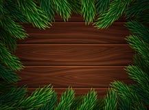 Bożenarodzeniowa dekoracja przeciw ciemnym drewnianym deskom Choinek gałąź listowy wpisowy drewniany tło Plakat dla Zdjęcia Stock