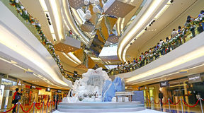 Bożenarodzeniowa dekoracja przy festiwalu spaceru zakupy centrum handlowym, Hong kong Zdjęcia Stock
