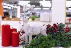 Bożenarodzeniowa dekoracja z rogaczem, choinką i czerwieni świeczkami, zdjęcie stock