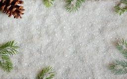 Bożenarodzeniowa dekoracja z sosną i śniegiem fotografia stock