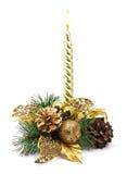 Bożenarodzeniowa dekoracja z złotą świeczką Obraz Stock