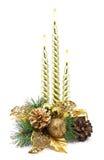 Bożenarodzeniowa dekoracja z złotymi świeczkami Zdjęcie Royalty Free