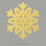 Bożenarodzeniowa dekoracja zima ornamentu złoty krystaliczny płatek śniegu odizolowywający na przejrzystym tle 10 eps royalty ilustracja