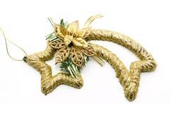 Bożenarodzeniowa dekoracyjna spada gwiazda z złocistym faborkiem Obraz Stock