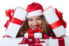 Bożenarodzeniowa dziewczyna z pudełkami prezenty odizolowywający Fotografia Royalty Free