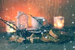 Bożenarodzeniowa filiżanka pomarańczowy cynamonowy cukier Fotografia Royalty Free