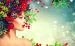 Bożenarodzeniowa fryzura Wakacyjny Makeup zdjęcia stock