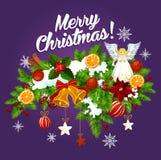 Bożenarodzeniowa girlanda z Xmas dzwonem dla nowy rok karty ilustracji
