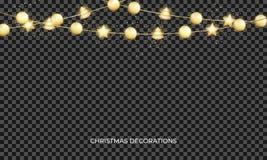 Bożenarodzeniowa girlanda z złocistymi błyszczącymi piłkami Xmas świąteczna złocista kruszcowa dekoracja royalty ilustracja