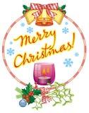 Bożenarodzeniowa girlanda, zaświecająca świeczki i powitania tekst: ` Wesoło boże narodzenia! ` royalty ilustracja