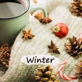 Bożenarodzeniowa gorąca parująca filiżanka glint wino z pikantność, anyżem, ciastkami w kształcie gwiazda, czerwonymi cukierkami, fotografia stock