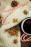 Bożenarodzeniowa gorąca parująca filiżanka glint wino z pikantność, anyżem, jedlinowymi rożkami, ciastkami w kształcie gwiazda, c fotografia royalty free