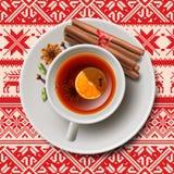 Bożenarodzeniowa herbata z pikantność, aromatyczny rozmyślający wino ilustracja wektor