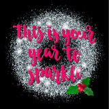 Bożenarodzeniowa i Szczęśliwa nowego roku powitania wakacji ręki literowania karta Obrazy Stock