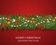 Bożenarodzeniowa i szczęśliwa nowy rok girlanda i granica choinek gałąź dekorować z uświęconymi jagodami i srebnymi baubles, gwia ilustracji