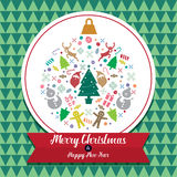 Bożenarodzeniowa i Szczęśliwa nowy rok karty ikona Fotografia Royalty Free