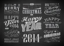 Bożenarodzeniowa i Szczęśliwa nowy rok typografia Obraz Royalty Free
