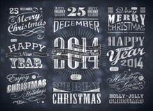 Bożenarodzeniowa i Szczęśliwa nowy rok typografia Zdjęcie Stock