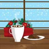 Bożenarodzeniowa ilustracja kubek z gorącym kakao, ciastkami na talerzu i szkocką kratą blisko okno, ilustracja wektor