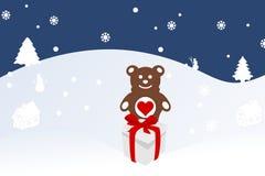 Bożenarodzeniowa ilustracja niedźwiadkowy lisiątko na śniegu Obraz Stock