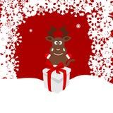 Bożenarodzeniowa ilustracja rogacz w śniegu Zdjęcia Stock