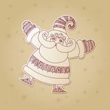 Bożenarodzeniowa ilustracja z śmiesznym Święty Mikołaj i płatka śniegu bac Fotografia Royalty Free