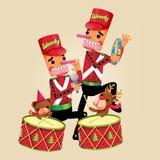 Bożenarodzeniowa ilustracja z drewno zabawki charakterem również zwrócić corel ilustracji wektora Zdjęcia Stock