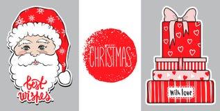 Bożenarodzeniowa ilustracja z prezentów pudełkami i ślicznym Święty Mikołaj szczęśliwy projekta nowy rok Xmas 2018 karta Najlepsz royalty ilustracja