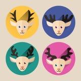 Bożenarodzeniowa jelenia płaska ikony paczka z długim cieniem Obrazy Royalty Free