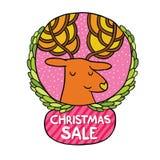 Bożenarodzeniowa jelenia sprzedaży odznaka Zdjęcia Royalty Free