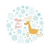 Bożenarodzeniowa jelenia wektorowa ilustracja Zdjęcia Royalty Free