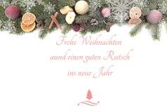 Bożenarodzeniowa jodła rozgałęzia się przeciw białemu tłu z tekstów Wesoło bożymi narodzeniami i Szczęśliwym nowym rokiem obraz royalty free