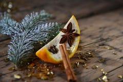 Bożenarodzeniowa Karmowa dekoracja, pomarańcze, cynamon, błyskotliwość, jodły gałąź Zdjęcia Royalty Free