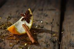 Bożenarodzeniowa Karmowa dekoracja, Pomarańczowy cynamon, błyskotliwość, anyż Fotografia Stock