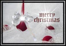 Bożenarodzeniowa kartka z pozdrowieniami czerwień i srebro dekoracja Obraz Stock