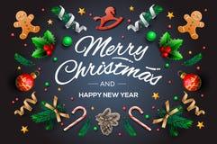 Bożenarodzeniowa kartka z pozdrowieniami z kaligraficznymi sezonów życzeniami i skład świąteczni elementy tak jak ciastka, gwiazd ilustracji