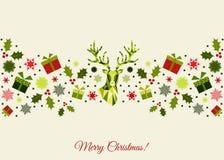 Bożenarodzeniowa kolorowa dekoracja z rogaczem, prezentami i płatkami śniegu, Zdjęcie Royalty Free