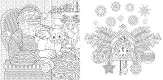 Bożenarodzeniowa kolorystyki książka Bożenarodzeniowe koloryt strony Święty Mikołaj z kotem w rocznika stylu przeszłość nowego ro royalty ilustracja