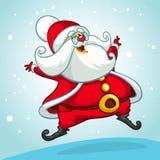 Bożenarodzeniowa kreskówka Święty Mikołaj doskakiwanie Wektorowa ilustracja na śnieżnym tle Fotografia Royalty Free