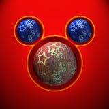 Bożenarodzeniowa mysz z czerwonymi i błękitnymi piłkami Obraz Royalty Free